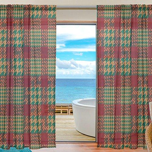 yibaihe Fenster Vorhänge, Gardinen Platten Fenster Behandlung Set Voile Drapes Tüll Vorhänge Rot und Grün Gitter Muster 140W x 213 L cm 2Einsätze für Wohnzimmer Schlafzimmer Girl 's Room (Rot Gitter, Vorhänge)