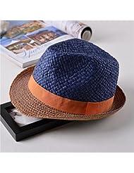 La moda femenina - todos los cortos cónicos soulful volumen playa hem sunscreen formal de sombrero de paja, azul