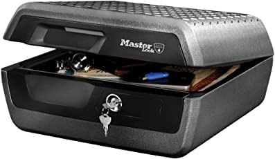 Master Lock Feuerbeständige, wasserdichte Sicherheitskassette mit Schlüsselschloss – großes Fassungsvermögen Größe L
