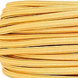 Textilkabel für Lampe, Textilummanteltes Rundkabel, dreiadrig 3x0,75mm², Gold - Meterware
