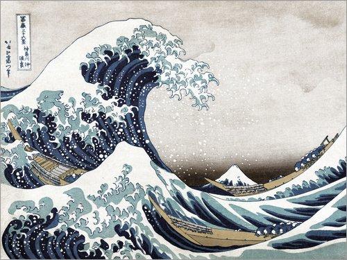 Poster 40 x 30 cm: Große Welle von Kanagawa von Katsushika Hokusai - Hochwertiger Kunstdruck, Neues Kunstposter (Boot Geringe Welle)