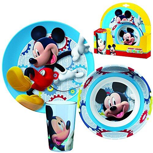 Disney topolino mickey mouse - melamina piatti set colazione (piatto, scodella, bicchiere)