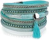 styleBREAKER Vintage Wickelarmband mit Strass, Quasten Anhänger und Ketten, 3-Reihig, Armband, Damen 05040027, Farbe:Antik-Hellblau