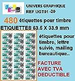 Univers Graphique ugt01 Etiketten für Briefmarken, 20Bögen à 24Etiketten = 480Etiketten, 63,5x 33,9mm, Kompatibel mit französischem System montimbre en ligne (L7159)