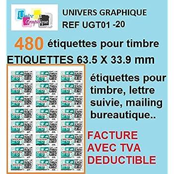 240 Etiquettes Pour Timbre Soit 10 Planches De 24 Etiquettes
