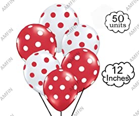 AMFIN® 12 inch (Pack of 50) Polka Dot Balloons for Birthday Decoration, Decoration for Mickey Mouse Theme Party , Baby Shower, 1st Birthday, Anniversary Party, Bachelors Party, Office Party ,Diwali