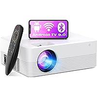 Vidéoprojecteur Android TV 9.0, WiFi Bluetooth Mini Projecteur Supporte 1080P 6000 Lumens Retroprojecteur Portable Video…