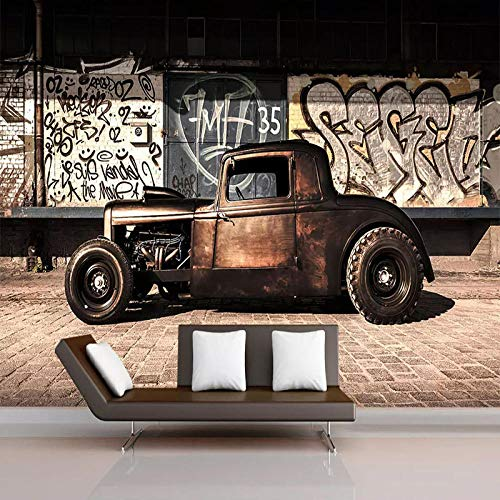 Fototapete 3D Retro Graffiti Nostalgia Old Car Wandtapete Restaurant Cafe Living Room Background Wall Dekoration 3D Fototapete 400 * 280cm
