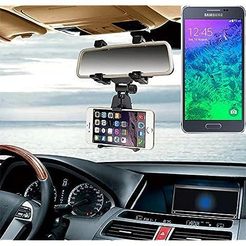 Supporto Smartphone specchietto retrovisore per Samsung Galaxy Alpha, nero | Specchio Holder staffa auto - K-S-Trade (TM) - Guida All'acquisto Holder