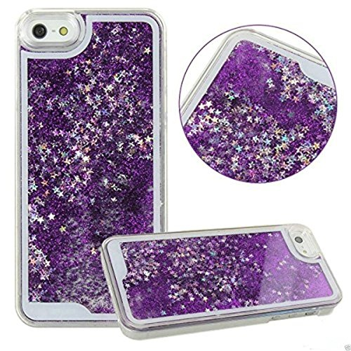 Aeoss iPhone 6 plus 3D Glitter Bling Star Waterfall Novelty Back Cover Case For iPhone 6 Plus (SkyBlue) (PURPLE)