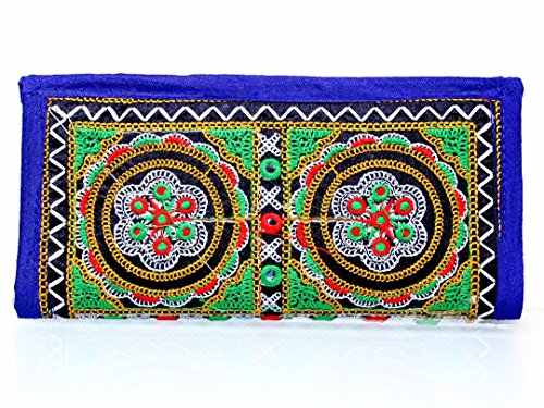 Para Ladies Traditional Hand Clutch Women Flower Design Wallet, Blue  available at amazon for Rs.199