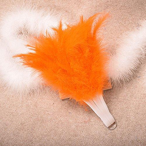Kviklo Feather Handfächer Folding Fächer Showgirl Fancy Dance Elegantes Plastikkostüm Party Hochzeit Opera Dekorationen(Orange,26cm)