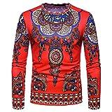 Manadlian Herren Herbst Winter Beiläufig Afrikanisch Stammes Dashiki Lange Ärmel Sweatshirts zur Seite Fahren Hemd Oberteile Bluse