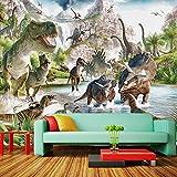 Karikatur scherzt Tapete Dinosaurier-Welthintergrundhintergrund-Wanddekoration 3D