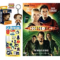 The Doctor Who Figure DVD Pack: The Waters of Mars + 11th Dr. Figure Mini Character Keychain Pocket Pop! & Graphic Stickers