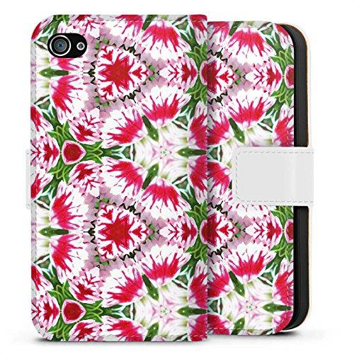 Apple iPhone X Silikon Hülle Case Schutzhülle Modern Kaleidoskop Blumen Sideflip Tasche weiß