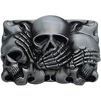 JaneYi Cowboy Skull Belt Buckle Rock Punk Belt Buckle Replacement Metal 3D Death Skull Vintage Belt Buckle Cool Jeans…