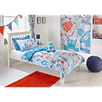 """Riva Paoletti Kids Robot Toddler Duvet Set - 1 x Pillowcase Included - Grey and Blue - Reversible Design - Machine Washable - 120 x 150cm (47"""" x 59"""" inches) - Designed in the UK"""