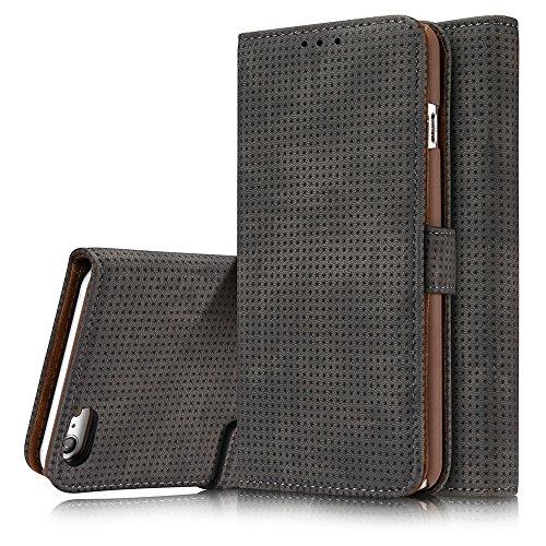 Retro Matte Breatheable Air-Mesh PU-Leder Folio Stand Brieftasche Case Cover mit Kickstand Card Slots für iPhone 6 und 6s ( Color : Blue ) Darkgray