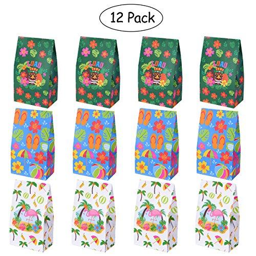 LUOEM Luau Hawaiian Treat Taschen Hibiscus Geschenk Taschen Treat Taschen Süßigkeitstüten Papier behandeln Säcke für Geburtstag Hochzeit Partei liefert 12PCS