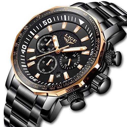 Uhren für Männer, LIGE Luxus marke Big Face Chronograph Sport Analog Quarzuhr Herren Edelstahl Wasserdicht Date Business Casual Armbanduhr Gold Black Dial