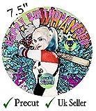personalisierbarer Harley-Quinn-Kuchenaufsatz, Essbarer Zuckerguss 19cm, plastik, Schwarz , Rund