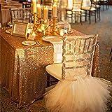 trlyc 127x 182,9cm Shimmer Pailletten Stoff Tischdecke für Hochzeit Farben sind erhältlich, Sonstige, gold, 50'*72' sequin tablecloth