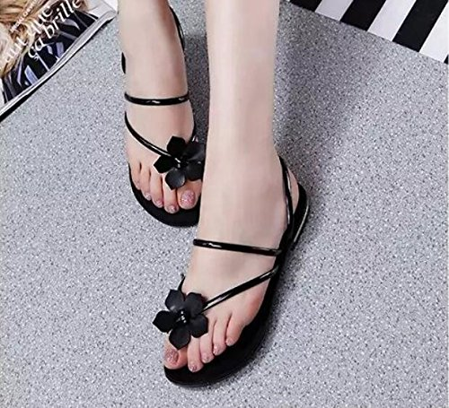 khskx-black Flower Leisure donne scarpe coreano piatto fondo piatto pizzico toe Cool pantofole, Thirty-nine Thirty-seven