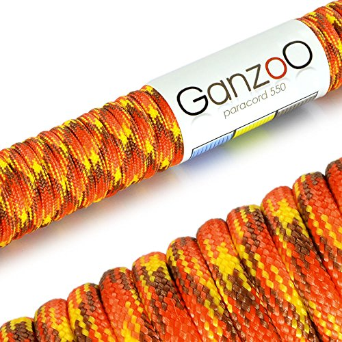 Paracord 550 Seil, 31 Meter, für Armband, Knüpfen von Hundeleine oder Hunde-Halsband zum selber machen / Seil mit 4mm Stärke / Mehrzweck-Seil / Survival-Seil / Parachute Cord belastbar bis 250kg (550lbs), Farbe: braun, rot, orange, gelb, Marke Ganzoo