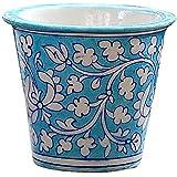 BLUE DECOR Blue Pottery Decorative-Handcrafted & Painted Floral Planter Vase ( PL104 ; Sky Blue )