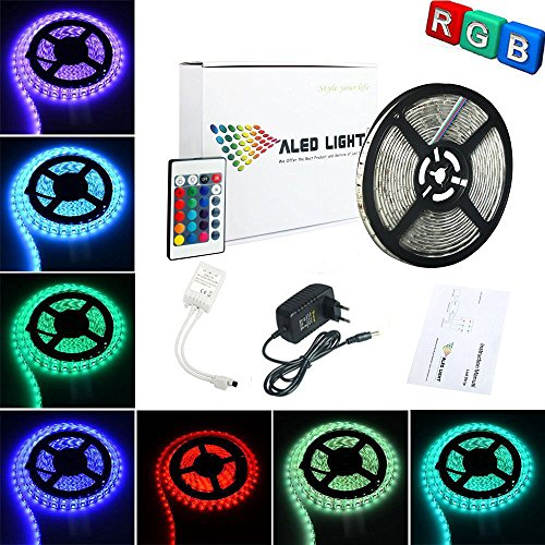 ALED LIGHT® LED Streifen 5M / 16.4 ft 300 SMD 3528 RGB Led Strip, Nicht Wasserdicht LED Band , LED Lichtschlauch, Packung für Heim Innendekoration , Farbwechsel-Set mit flexibles Streifen-Licht + 24 K IR-Fernbedienung + Netzteil, Versandkostenfrei
