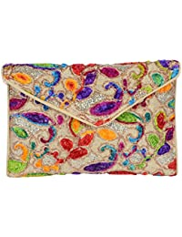 Shubhangi Women's Sling Bag (Jaipuri Embridered Handicraft Traditional Sling Bag,Multi-Coloured, R32051Cream)