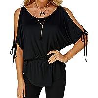 YOINS Camicia Donna Casuale Maglietta a Manica Corta Girocollo Tshirt Asimmetrica Tops