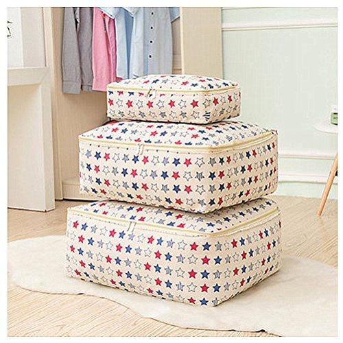 Inwagui Baumwolle Aufbewahrungstasche Speicher Beutel Bettwäsche Aufbewahrung Unterbett Jumbo Tasche für Betten Decken Kissen Oberbetten 3er Set- Sterne (Schlafzimmer-bett Einem Mädchen Beutel In)