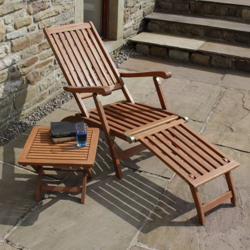 Trueshopping Steamer Sun lounger Chair Ambleside Hardwood Patio Chair includes really useful Folding Side Table