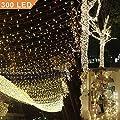 Uping Lichterkette 300 Leds 33M warm weiß DC 31V Niederspannungstransformator und 8 Programm für Party, Garten, Weihnachten, Halloween, Hochzeit, Beleuchtung Deko in Innen und Außenbereich usw. Wasserdicht von Uping