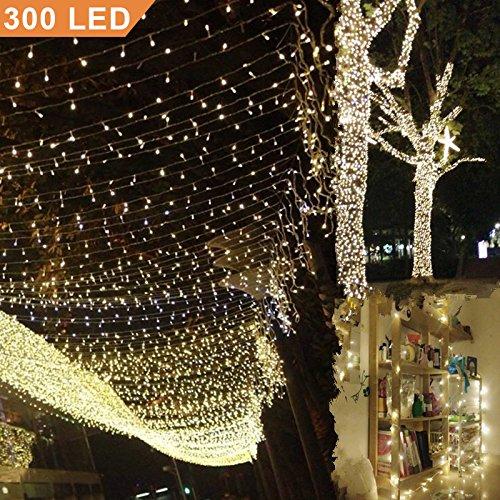 Uping Lichterkette 300 Leds 33M warm weiß DC 31V Niederspannungstransformator und 8 Programm für Party, Garten, Weihnachten, Halloween, Hochzeit, Beleuchtung Deko in Innen und Außenbereich usw. Wasserdicht