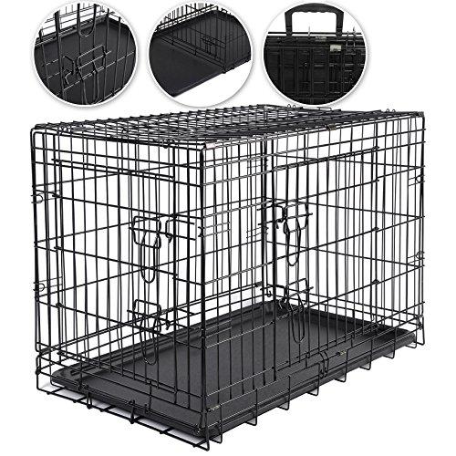 WOLTU® HT2080sz3-a L 91,5*58*63,5 Hundekäfig Transportkäfig faltbar Käfig Hundebox Auto Gitterbox Hundetransportbox