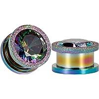COOEAR Ear Plug Tunnel Gauge Barella Piercing Zircone colorato Centro Vite nera in acciaio inossidabile 6mm to 16mm