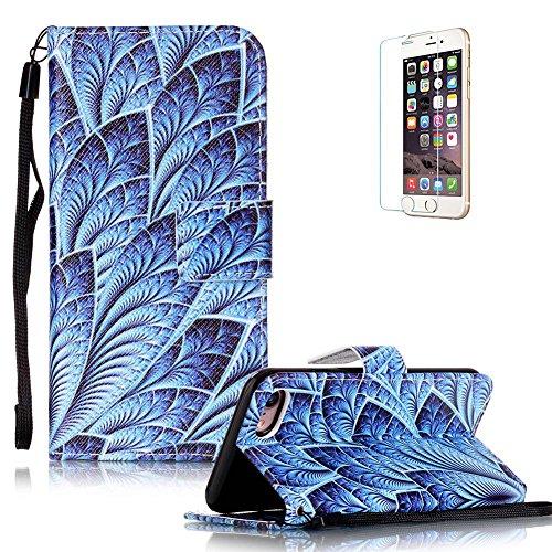 """Für iPhone 7 4.7"""" Gurt Strap Magnetverschluß Ledertasche Hülle,Für iPhone 7 4.7"""" Premium Seil Leder Wallet Tasche Brieftasche Schutzhülle,Funyye Stilvoll Jahrgang [Bunt Muster] Schutzhülle Wallet Case Pfau Blume"""