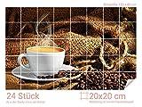 Graz Design 761664_20x20_80 Fliesenaufkleber Tasse/Kaffee-Bohnen für Kacheln | Küchen-Rückwände mit Folie überkleben (Fliesenmaß: 20x20cm (BxH)//Bild: 120x80cm (BxH))