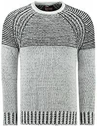625b5af598a PULL JIMMY BLANC COL ROND A GROSSE MAILLE HOMME HIVER CHAUD (M)