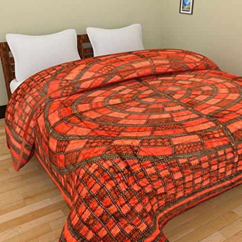 GRJ INDIA Jaipuri World Famous Light weight Pure Cotton Floral Print Multi Colour Reversible Single Bed Quilt /Razai / Rajai