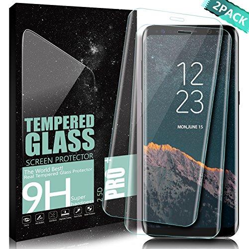 Protector de pantalla Galaxy S8 Plus, DanTeng [2-Pack] Vidrio Templado Cobertura Completa Anti-Scratch HD Clear Screen Protector Para Samsung Galaxy S8 Plus - Transparente