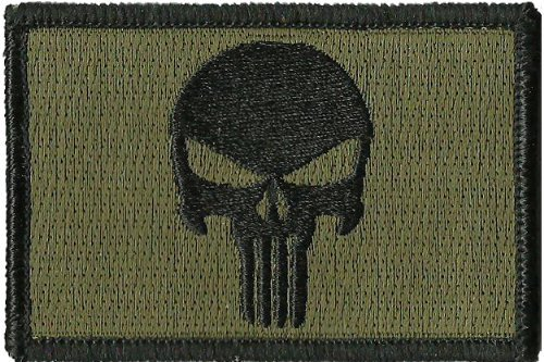 Velcro-verde-oliva-Punisher-tattico-militare-Airsoft-Outlaw-Moral-Skull-Patch