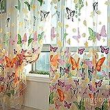 mark8shop mariposa Impreso Sheer ventana Cortinas de Tul Puerta Ventana Pantalla