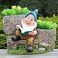 Design XL Zwerg 91210-1 mit 2 Blumentopf 26 cm Hoch Deko Garten Gartenzwerg Figuren Dekoration