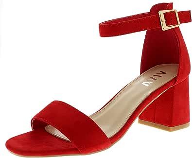 Viva Donna Sandalo Tallone di Blocco Punta Lì Cinturino Alla Moda Caviglia