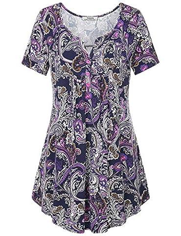 T shirt for Women,Youtalia Women's Henley V Neck Short Sleeve