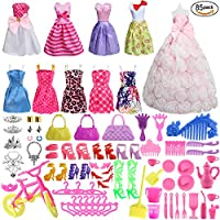 85 Pcs Barbie Doll Clothes Set Include 10 Pack Barbie Clothes Party Grown Outfits(Color Random) and 75 Pcs Different Barbie Doll Accessories for Little Girl